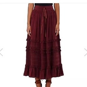 Ulla Johnson Leonora ruffle tiered skirt wine 4
